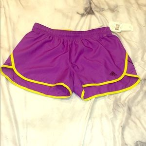 ADIDAS 'own it' purple/lime shorts - small NWT